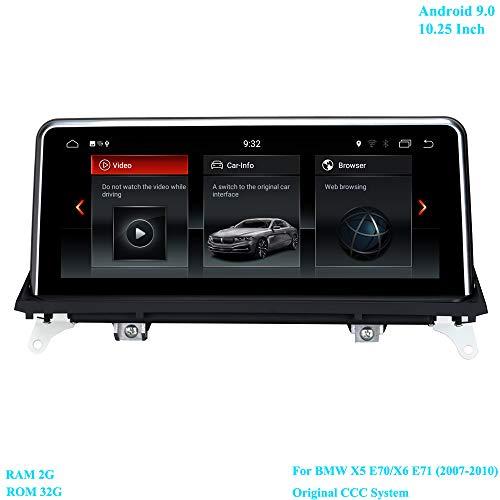 XISEDO 10,25 inch scherm Android 9.0 RAM 2G ROM 32G autoradio met GPS Navi ondersteunt wifi stuurwielcontrole Android radio voor BMW X5 E70 / X6 E71 (2007-2010) oorspronkelijke CCC-systeem