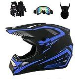 Senhill DOT Motocross Helmet Unisex Offroad Helmet Dirt Bike ATV Motorcycle Helmet with Gloves Goggles Mask (Blue, L)