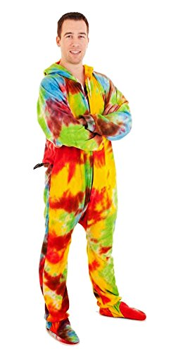 Forever Lazy Footed Adult Onesie - Trifflin' Tie Dye - M
