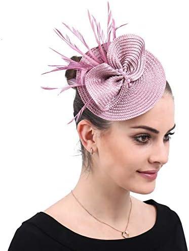 YONQUIL Imitation Straw Ladies Fascinators hat Accessories Hair Women Elegant Wedding Church SYF565