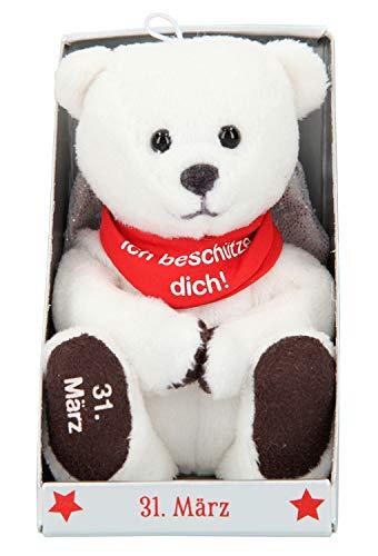 Depesche 8139.091 - Schutzengel Bär aus Plüsch, ca. 9 cm, mit Datum 31. März, Geschenk für Geburtstag, Jahrestag oder Hochzeitstag