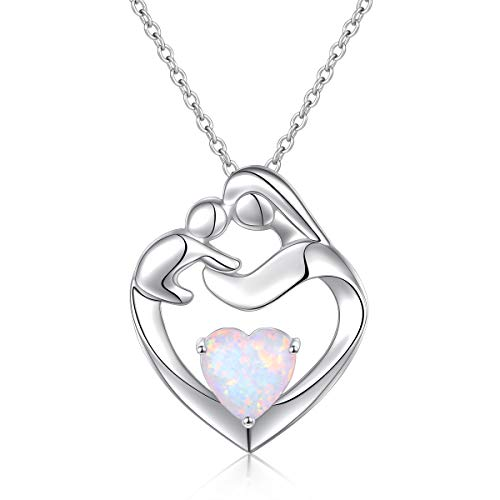 Flyow Real 925 Sterling Silver Mother and Child Heart Lab Opal Pendant Necklace Jewelry for Women Mother Best Christmas Gifts New Mum Gifts (Silver)