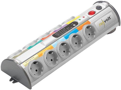 revolt Stromleiste: 10-Fach-Multimedia-Steckdosenleiste mit Überspannungsschutz (Steckleiste)