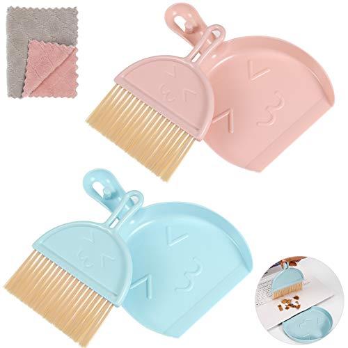 Gaosaili 2 Stücke Mini Kehrblech und Handfeger mit Reinigungstuch, Handbesen und Kehrschaufel, Tisch-Bürste & Schaufel, Tischbesen mit Kehrschaufel - Mini Dustpan and Brush Set
