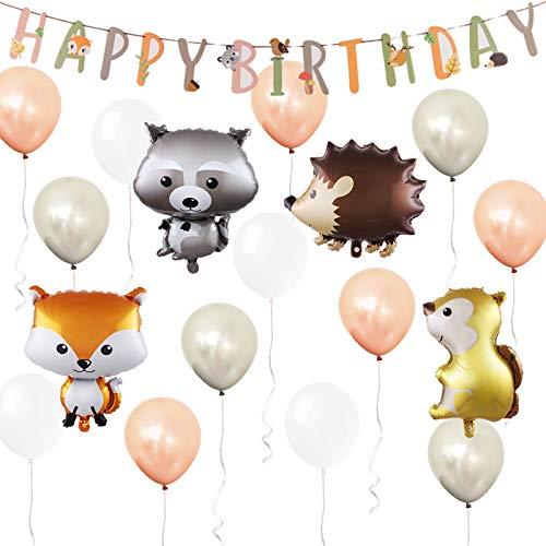 ETLEE Globos de animales del bosque - Globos de animales del bosque de 25 pulgadas y carteles de feliz cumpleaños y globos de látex para decoración de fiestas temáticas de la selva