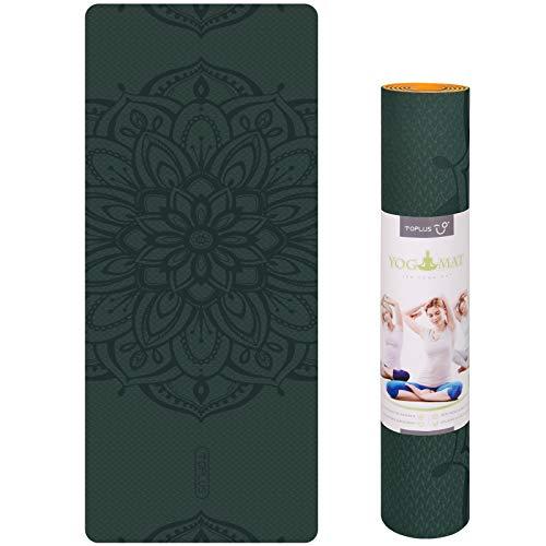Toplus Esterilla antideslizante de TPE, para yoga, pilates, fitness, 183 x 61 x 0,6 cm, Verde oscuro y naranja.