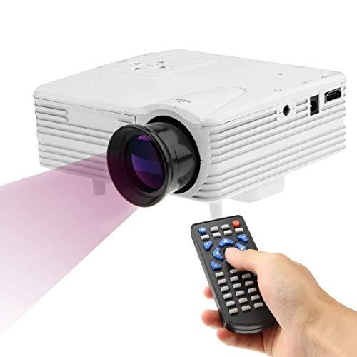 Instan Proyector LED 640x480 píxeles admite 1080P Completo Proyector portátil H80 Video Home Theater Proyectores y Accesorios para útiles Escolares y de Oficina 1 x proyector,Blanco