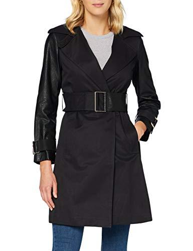 Sisley Trench Coat Giacca da Pioggia, Nero 100, 44 Donna