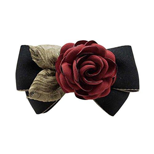 Tissu d'accessoires pour cheveux Barrettes à la main Rose Hair Barrette Bowknot Noir / Rouge