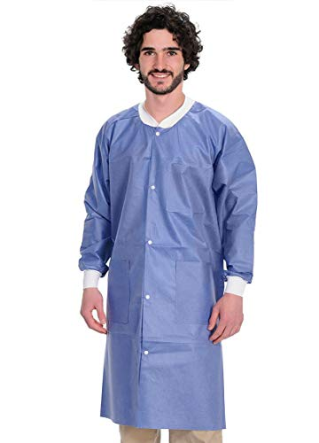 Disposable Lab Coats. Pack of 10 Blueberry Adult Lab Coats Large. SMS Anti-Static Coating 45 gsm. Unisex Lab Coats with Long Sleeves, Knit Collar, Cuffs and Pockets. Snap Closure. Non Sterile Uniform