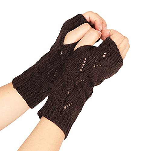 BCDlily Womens Knitted Convertible Fingerless Gloves Warm Winter Thumb Hole Mitten Mitts (Coffee)