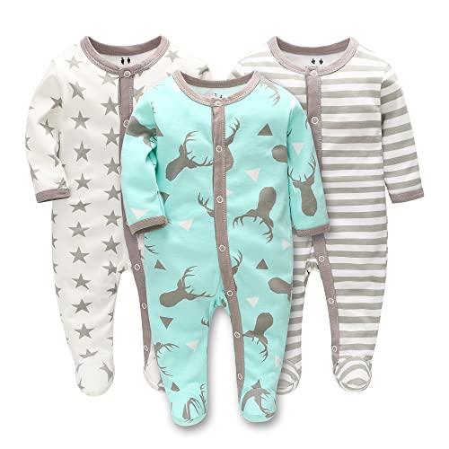 LAT LEE AND TOWN Pijama de bebé para bebé (tallas 56, 62, 68, algodón, con botones, para niños y niñas, 0-7 meses), Ciervo/estrellas grises/rayas grises., 3 mes