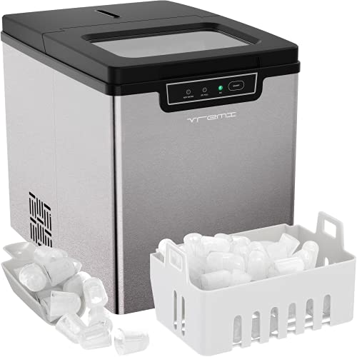 Vremi Very Nice Ice Maker for Countertop - Fast 8-Minute Ice Production - Beautiful Bullet-Shaped Cubes - Makes 26 Pounds Per Day - Energy Efficient with Slick Silver Design