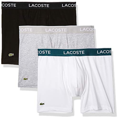 Lacoste Men's Casual Classic 3 Pack Cotton Stretch Boxer Briefs, Black/White/Silver Chine, M