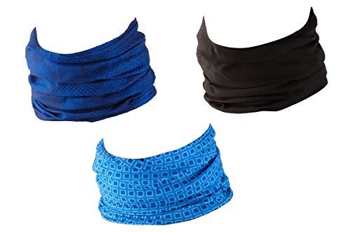 Hilltop 3 x Motorrad Multifunktionstuch, Schlauchtuch, Sport-Halstuch, Bandana / 3-er Set in aktuellen Designs, 3er Set/Farben:Blue Lovers