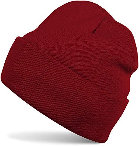 styleBREAKER Unisex warme Beanie Strickmütze, Feinstrick Mütze doppelt gestrickt, Winter 04024029, Farbe:Bordeaux-Rot