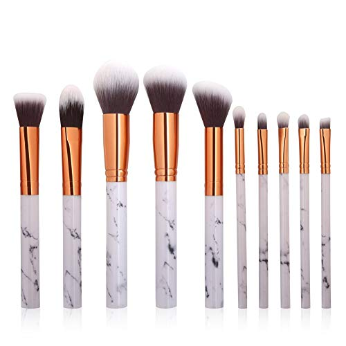 Pinceaux de maquillage mis 10 pcs, pinceaux de maquillage en marbre ensemble fard à paupières Eyeliner Foundation mélange Blush Kit de pinceau de maquillage pour les professionnels et les amateurs (10 pcs)