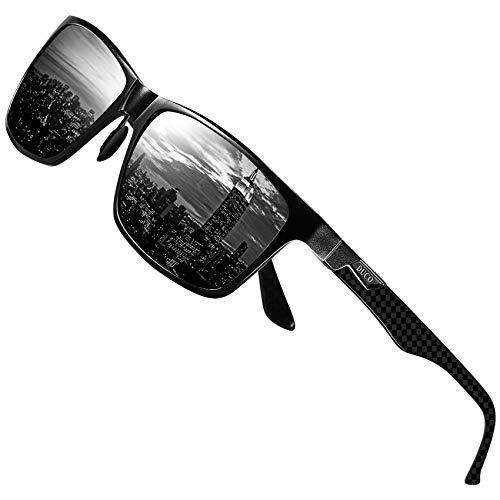 DUCO Herren Polarisierte Sonnenbrille mit Rechteckig Metallrahmen und Kohlefaser Brillenbügel UV400 CAT 3 CE 8206 (Schwarz Rahmen Grau Linse)