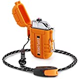 Green Vivid Waterproof Flameless Electric Lighter-Dual Arc Plasma Beam Lighter/USB rechargeable/Windproof/No Butane/Para-tinder Lanyard & Emergency Whistle/Ideal Lighter for Indoor and Outdoor(Orange)