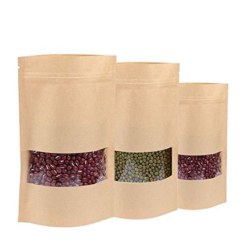 50 bolsas de papel Kraft para almacenamiento de alimentos, b