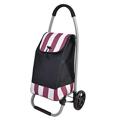 RSWLY Carretilla de compras de gran capacidad Remolque de viaje de senderismo Push-pull coche 7 pulgadas cojinete rueda base plegable rayas rojas y blancas