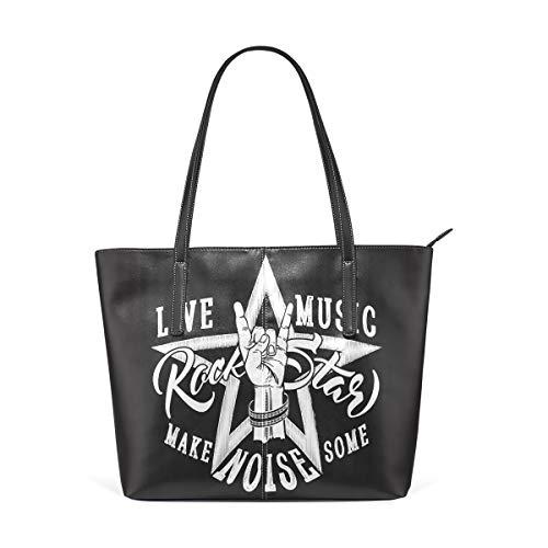Einkaufstasche Handtaschen Home Leichter Gurt für Frauen Mädchen Damen Student Umhängetaschen Leder Mode Rock Roll Zeichen Stern Geldbörse Einkaufen