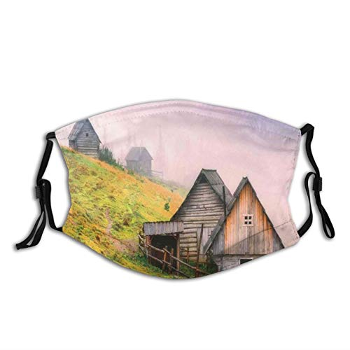 Fillter Face Cloth for Adults,Nature Wooden Houses in A Carpathian Mountains Ukraine Early Misty Morning Picture,Cold Mouth Dustproof Double Protection
