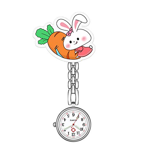 B/H Reloj de Bolsillo Enfermera Movimiento Cuarzo,Lindo Reloj de Pecho con Reloj de Enfermera,Reloj de Bolsillo de Examen Simple y Duradero-E,Paramédico Médico Broche Fob Reloj
