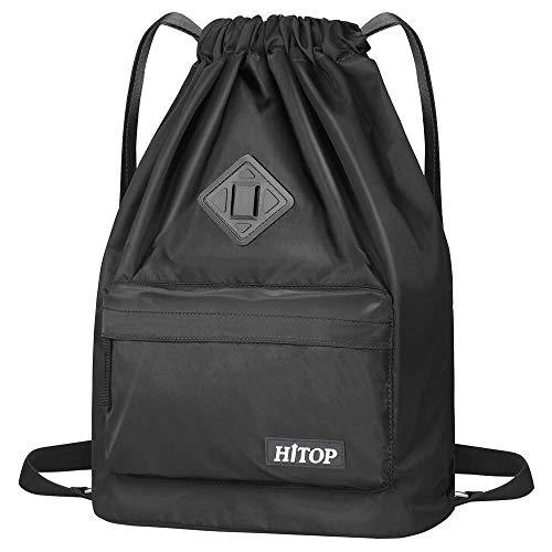 HITOP Wasserdichte Sporttasche mit Kordelzug, leichter Sackrucksack für Damen und Herren