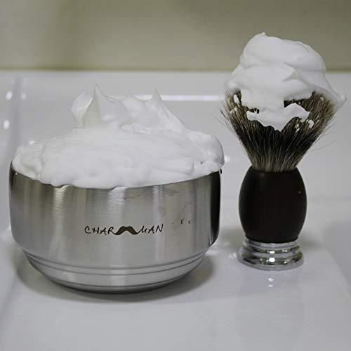 『CHARMMAN ふた付きステンレス製シェービング泡立ち石鹸ボウルは断熱保温層が3層もあり、素敵なシェービング補助ツールです』の5枚目の画像