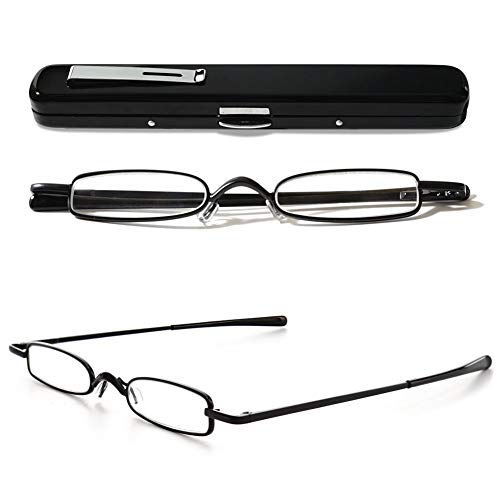 VEVESMUNDO Lesebrillen Schmal Metall Federscharnier Klassische Damen Herren Klein Mini Leicht Lesehilfe Sehhilfe Brillen mit Etui 1.0 1.5 2.0 2.5 3.0 3.5 4.0 (1 Stück Schwarz Lesebrille, 1.5)