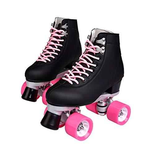 Cuoio Roller Skates Donne Esterna, 4 Ruote High-Top Quad Pattini Due File Roller Ruota Pattino A Rotelle (Color : Black, Size : 6.5)