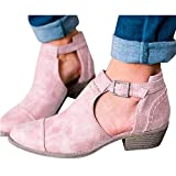 Swiusd Women Ankle Short Booties Retro Flock Leather Boots Comfy Closed Toe Midi Heel Western Shoes Cutout Strap Buckle Outdoor Shoes (Pink, US 6.5)
