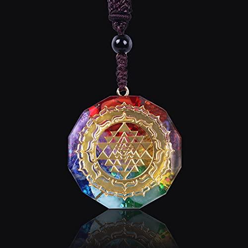 JUNLAI Collar Colgante Luminoso Hecho a Mano Geometría Collar de meditación Joyería (Metal Color : Style 1)