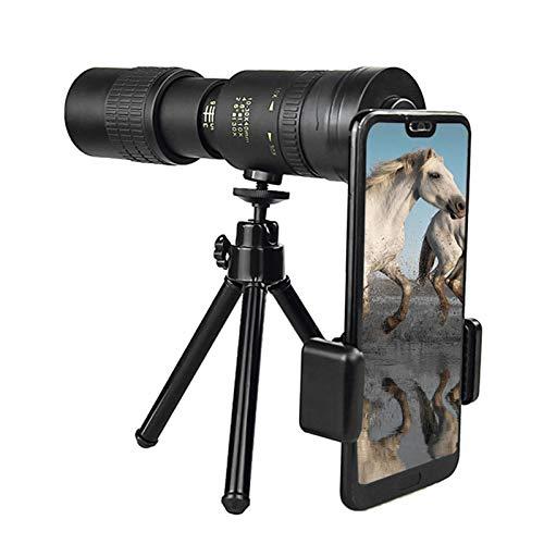 YAOJING Telescopio monocular 4K 10-300 x 40 mm Super Telezoom Teleocular, visión nocturna, con trípode para smartphone, para observación de aves, caza, camping