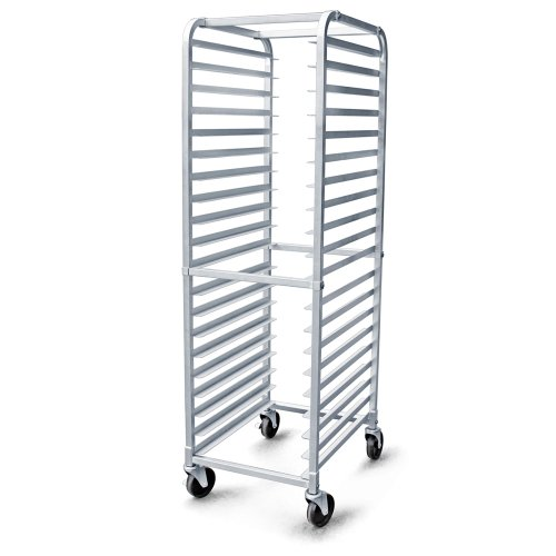 New Star Foodservice 36527 Commercial-Grade Aluminum 20-Tier Sheet Pan/Bun Pan Rack, 26' L x 20' W x 69' H with Brake Wheels
