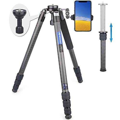 """77"""" Carbon Fiber Bowl Tripod Camera Video Tripod with 65mm Fastbowl and Center Column ARTCISE AS80C+EC2 Professional Camera Tripod Stand for DSLR Camera, Video Camcorder, Max Load 44lb/20kg"""