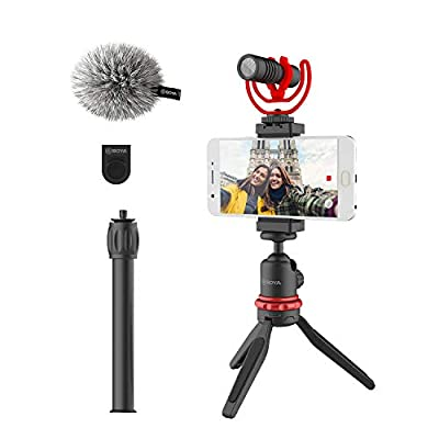 BOYA BY-VG330 Smartphone Video Rig with Mini Tripod, extension tube, and Video Microphone Compatible with iPhone 11, 11 Pro, XS, XR, X, 8, 7 and Android - for YouTube, TIK Tok, Facebook, Vlogging