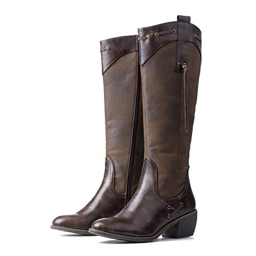 gracosy Leather Knee Boots, Women's Knee High Boot Flat Heel Zipper Buckle Riding Boots Brown-New 7