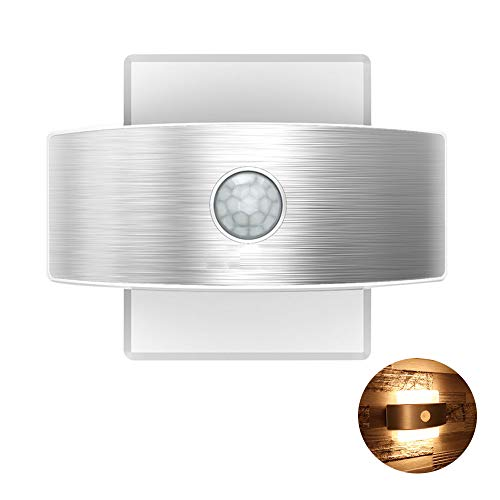 TopYart- LED人感センサーライト USB充電式 壁掛け照明 自動点灯消灯 簡単取付 屋内 led壁灯 インテリア照明 階段・玄関・寝室・廊下などの照明 (暖色)