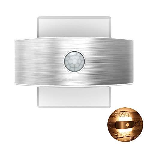 TopYart- LED人感センサーライト USB充電式&電池式 壁掛け照明 自動点灯消灯 簡単取付 屋内 led壁灯 インテリア照明 階段・玄関・寝室・廊下などの照明 (暖色)