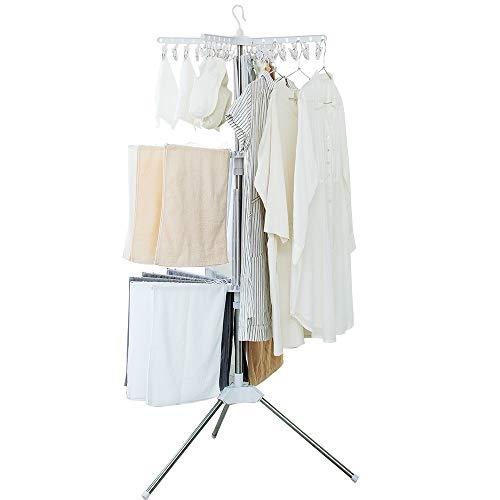 アイリスオーヤマ 洗濯物干し パラソル 伸縮 3段 タオルハンガー 直径約84cm 高さ調節可能 折りたたみ収納 物干し 室内物干し スタンド 外せるピンチハンガー CLS-173R