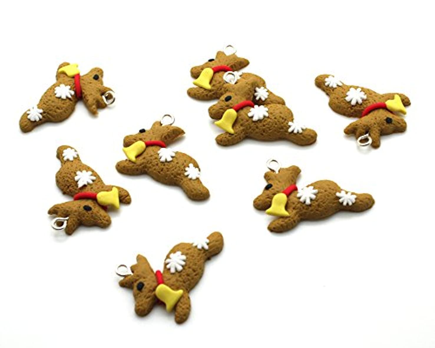 Beads Unlimited Polymer Clay Christmas Gingerbread Reindeer Multi Colour 30x22x6mm-Pack of 10, Mixed