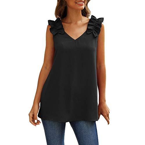 WGNNAA Damen Tank Tops Ärmellose Shirts Cami Bluse Loose Tanktop Eleganten V-Ausschnitt Oberteile Einfarbig Tops Rüschenriemen mit Plissierte Schulter