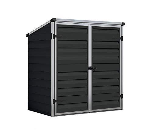 Palram Gerätebox, Mülltonnenbox, Gartenschrank Voyager schwarz 139x90x146 cm Gerätehaus und Gartenbox