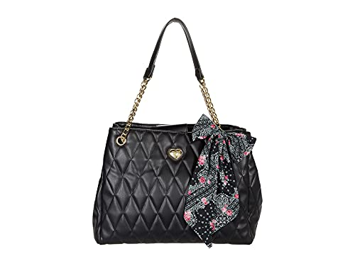 Betsey Johnson Leanne Quilted Tote with Scarf Black/Floral One Size