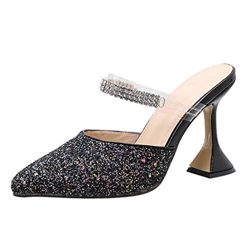 Sale!! Sumen Fashion Pure Color Breathable Round Toe Sandals Light Slippers Women Shoes Black