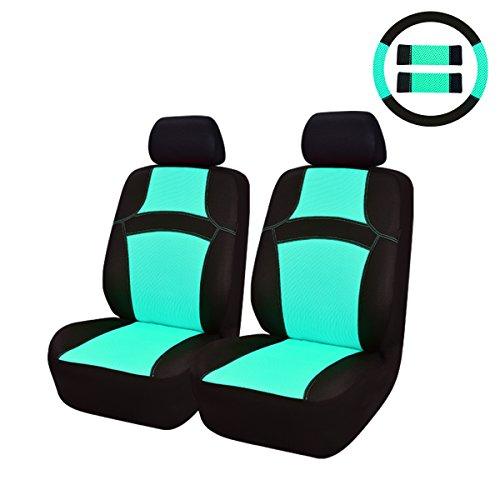 CAR PASS 9 PC Juego completo de fundas para asientos de coche fundas frontales y con reposacabezas con volante cubierta