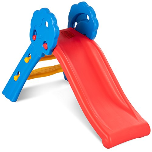 Baby Joy Folding Slide, Indoor First Slide Plastic Play Slide Climber for Kids (Floral Rail)
