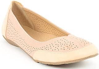 ESTATOS Etashee Perforated Leather Cut Work Platform Heeled Beige/Peach bellerina/Shoes